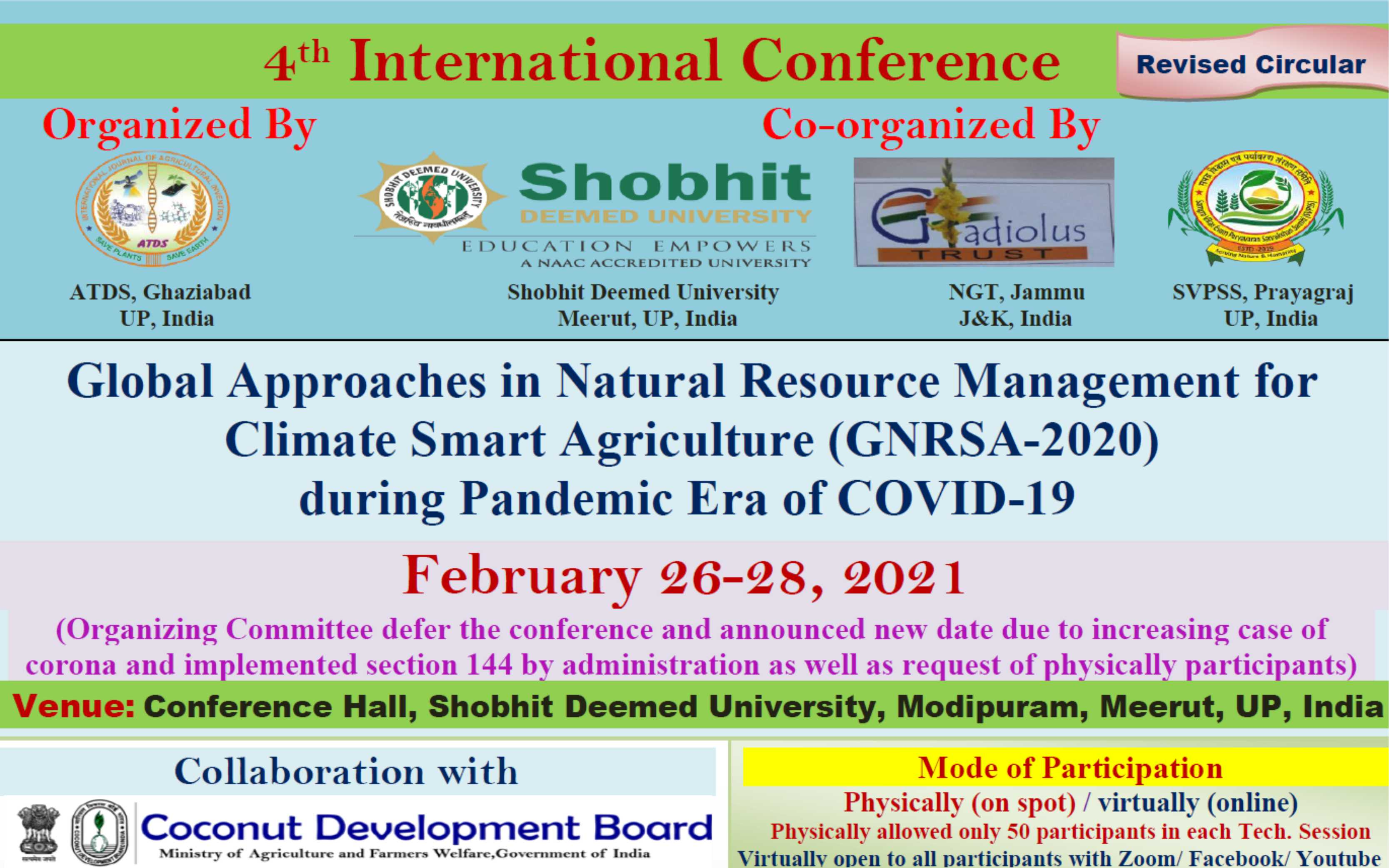 4th International Conference: GNRSA-2020 during Pandemic Era of COVID-19 on February 26-28, 2021